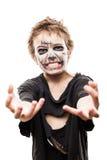 Krzyczący chodzący nieżywy żywego trupu dziecka chłopiec Halloween horroru kostium Fotografia Stock