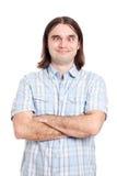 krzyżujący przyglądający się śmieszny mężczyzna Obraz Stock
