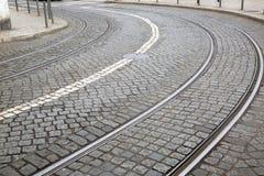 Krzywa na tramwaju śladzie; Lisbon Zdjęcia Stock