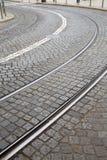 Krzywa na tramwaju śladzie; Lisbon Fotografia Stock