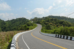 Krzywa pusta droga i zieleni pole w kraju przy Nan Thailand Zdjęcia Royalty Free