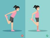 Krzywdzi i prawy rozciąganie przód udo postura, wektor Obraz Royalty Free