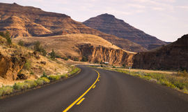 Krzywy Często bywać Dwa pas ruchu autostrady John dnia skamieliny łóżka Zdjęcia Royalty Free