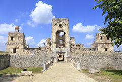 Krzyztopor, Ossolinski的宫殿, Ujzad废墟在波兰 免版税库存照片