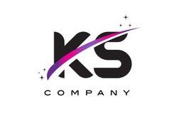 KS μαύρο σχέδιο λογότυπων επιστολών Κ S με πορφυρό ροδανιλίνης Swoosh διανυσματική απεικόνιση