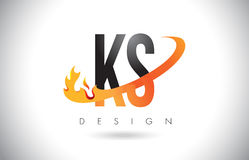 KS K S Letter Logo with Fire Flames Design and Orange Swoosh. KS K S Letter Logo Design with Fire Flames and Orange Swoosh Vector Illustration Royalty Free Stock Photo