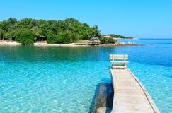 Ksamil海滩,阿尔巴尼亚 免版税库存照片
