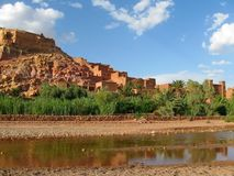 Ksar of Ait-Ben-Haddou, fortified town of clay on the Ouarzazate river, Morocco Royalty Free Stock Photo