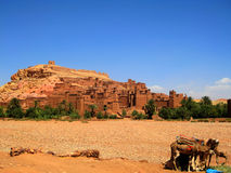 Ksar of Ait-Ben-Haddou (Morocco). Aït Benhaddou is a fortified city, or ksar, along the former caravan route between the Sahara and Marrakech (Morocco). Aït Stock Images