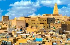 Ksar Bounoura, een oude stad in de Vallei van M ` Zab in Algerije stock foto