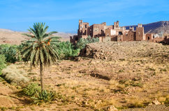 Ksar - old fortified castle in desert Royalty Free Stock Photo