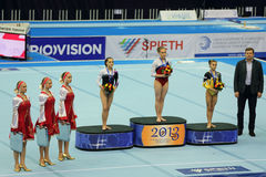 Ksenia Afanasyeva, Larisa Iordache et Diana Bulim Photos stock
