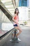 Ksenia skateboard girl royalty free stock images