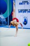 Kseniya Moustafaeva executa com a fita Imagens de Stock Royalty Free