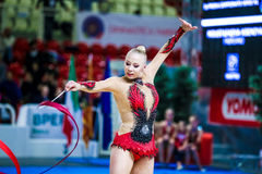 Kseniya Moustafaeva performs with ribbon Royalty Free Stock Photo