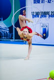 Kseniya Moustafaeva performs with ribbon Stock Photo