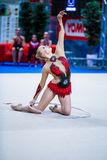 Kseniya Moustafaeva presteert met lint Royalty-vrije Stock Foto