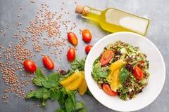Käseplatte, Käserollen und Linsensalat/Mediterranean-Küche Lizenzfreie Stockbilder