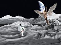 Księżycowy spotkanie z aniołem royalty ilustracja