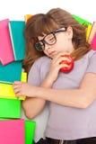 książek dziewczyny stosu dosypianie zdjęcia stock