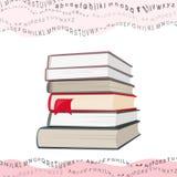 książek kolażu latająca listów sterta falista Zdjęcie Stock