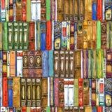 Książka Bezszwowy wzór z książkami Książkowa akwareli ilustracja obraz stock