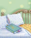 Książka i łóżko Obrazy Royalty Free