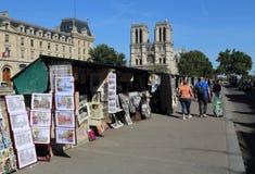 Książka i pamiątka opóźniamy wzdłuż wontonu, Paryż Zdjęcie Stock