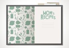 Książka kucharska z mamy ` s przepisami Drewniani łyżki, rozwidlenia i zatoki liście Zdjęcia Royalty Free
