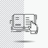 książka, lekcja, nauka, literatura, czyta Kreskową ikonę na Przejrzystym tle Czarna ikona wektoru ilustracja ilustracja wektor