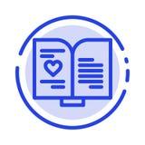 Książka, miłość, serce, Poślubia błękit Kropkującą linii linii ikonę ilustracja wektor
