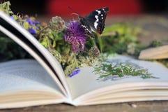 Książka na drewnianej stołowej wsi Fotografia Royalty Free