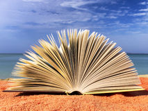 Książka przy plażą Fotografia Stock