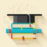 Książka z kwadratowym akademickim nakrętki ikony pojęcia projektem Obraz Stock
