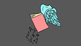 Książka z skrzydłami i listami, ilustracja Zdjęcia Stock