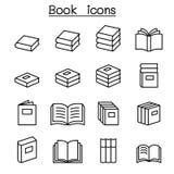 Książki & edukacji ikona ustawiająca w cienkim kreskowym stylu royalty ilustracja