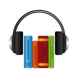Książki i hełmofonu ikona Audiobooks projekt gdy dekoracyjna tło grafika stylizował wektorowe zawijas fala Obraz Royalty Free