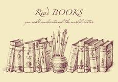 Książki i writing narzędzia w rocznika stylu royalty ilustracja