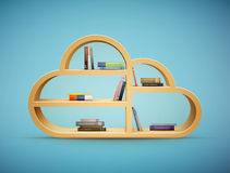 Książki na drewnianym półki chmury kształcie Zdjęcie Stock