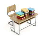 Książki na szkolnym biurku Zdjęcie Stock