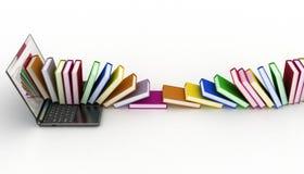 Książki od twój laptopu na bielu Obraz Royalty Free