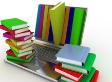 Książki od twój laptopu na bielu Obrazy Stock