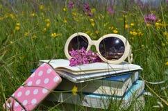 Książki, okulary przeciwsłoneczni, telefony komórkowi Na łące obrazy stock