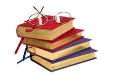 książki trafimy okulary złota odczyt Fotografia Stock
