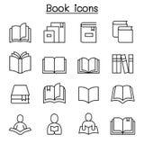 Książki, uczenie, czytania & edukacji ikona ustawiająca w cienkim kreskowym stylu, royalty ilustracja