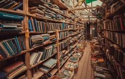 Książki z literaturą i manuałami na półkach na książki rocznik księgarnia obraz stock