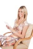 książkowa cyfrowa kobieta Zdjęcia Royalty Free