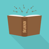 Książkowa ikona Pojęcie przygoda, beletrystyczny gatunek Zdjęcie Stock