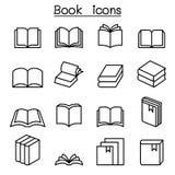 Książkowa ikona ustawiająca w cienkim kreskowym stylu ilustracja wektor