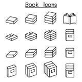 Książkowa ikona ustawiająca w cienkim kreskowym stylu ilustracji